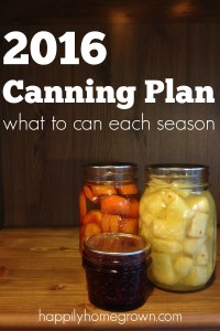 2016 Canning Plan | What to Can Each Season