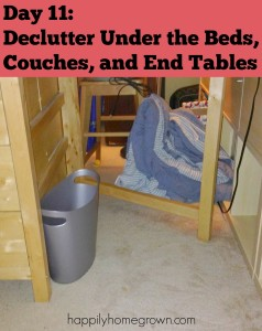 Day 11: Declutter Under the Beds, Couches, and End Tables