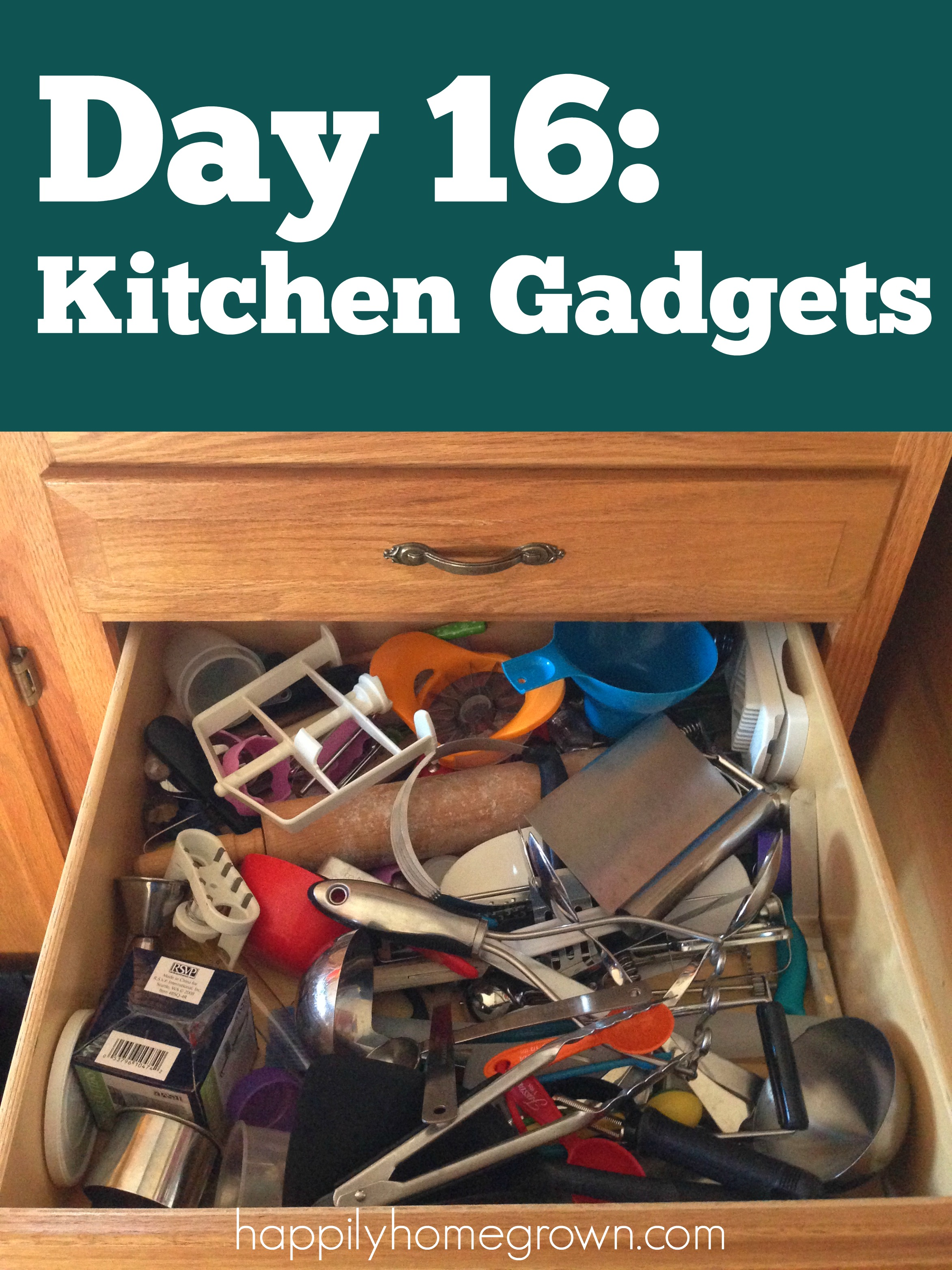 Day 16: Kitchen Gadgets taking over your kitchen? Take it back and declutter your kitchen!