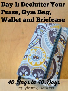 Day 1: Declutter Your Purse, Gym Bag, Wallet and Briefcase