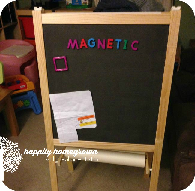 Ikea hack of the m la easel happily homegrown for Magnetic board for kids ikea