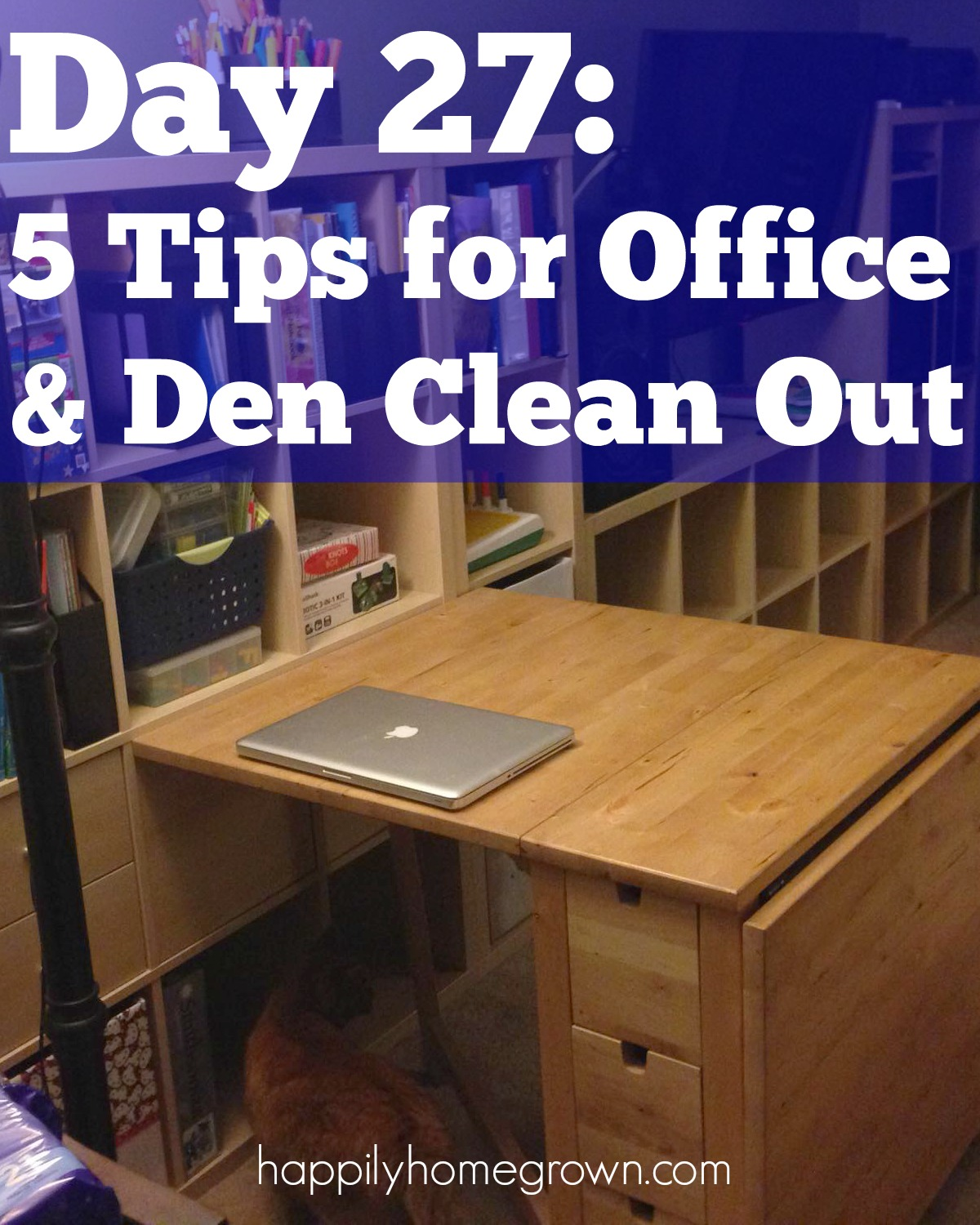 Now that we took care of the paper clutter, its time to look at your office space as a whole. Here are 5 tips for your office & den clean out.