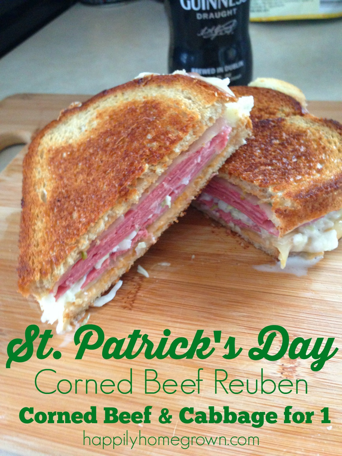 Corned Beef & Cabbage for 1. A delicious corned beef & swiss sandwich grilled to perfection, and tastier than what you would get at the local diner or deli.