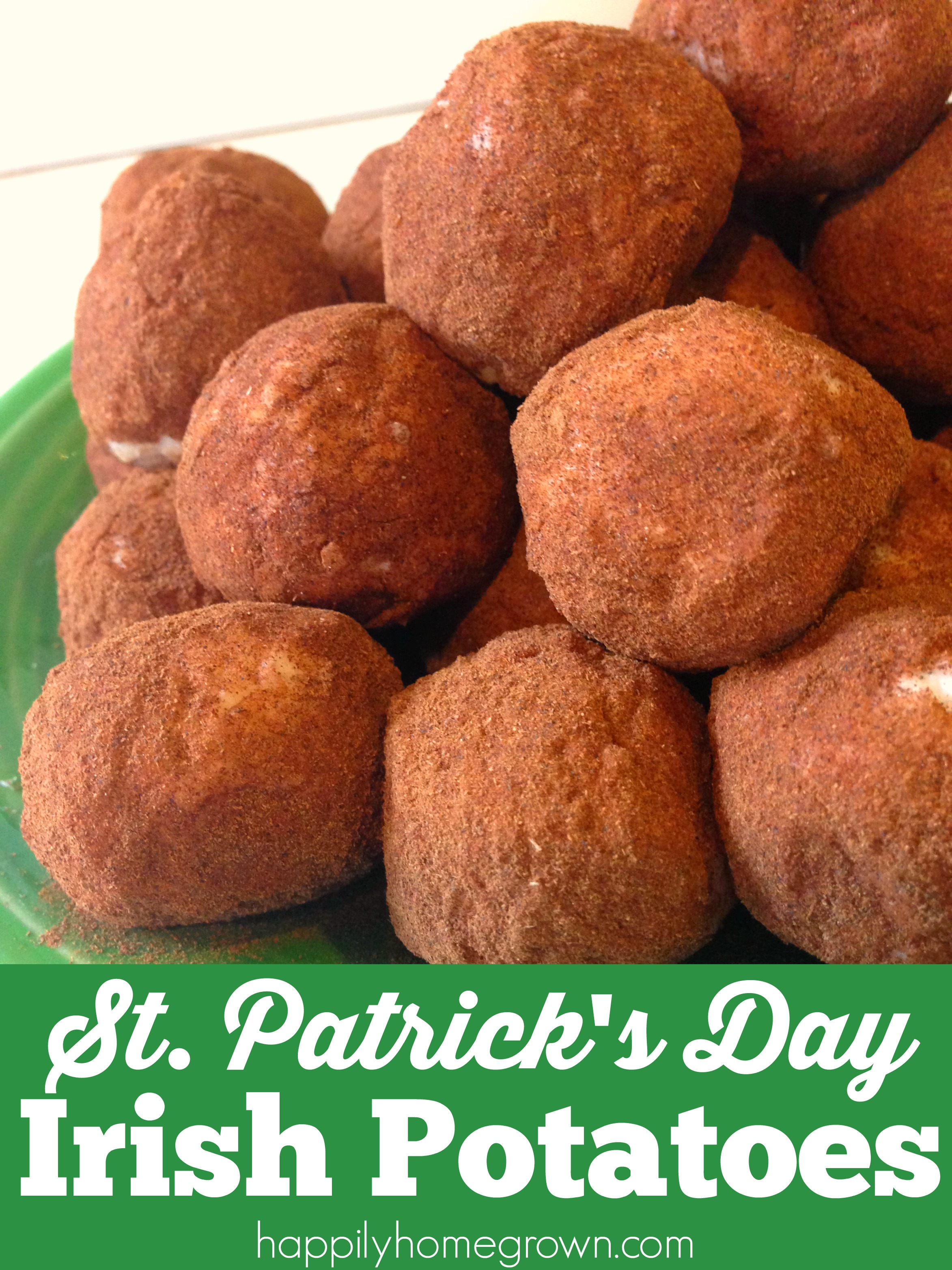 Irish Potatoes have very little to actually do with potatoes; potatoes aren't even an ingredient! However, these bite size confections look like petite russet potatoes.