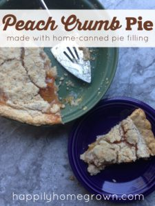 Peach Crumb Pie Made with Home-Canned Pie Filling