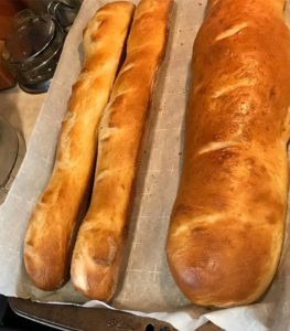 2 baguette and 1 free-form loaf