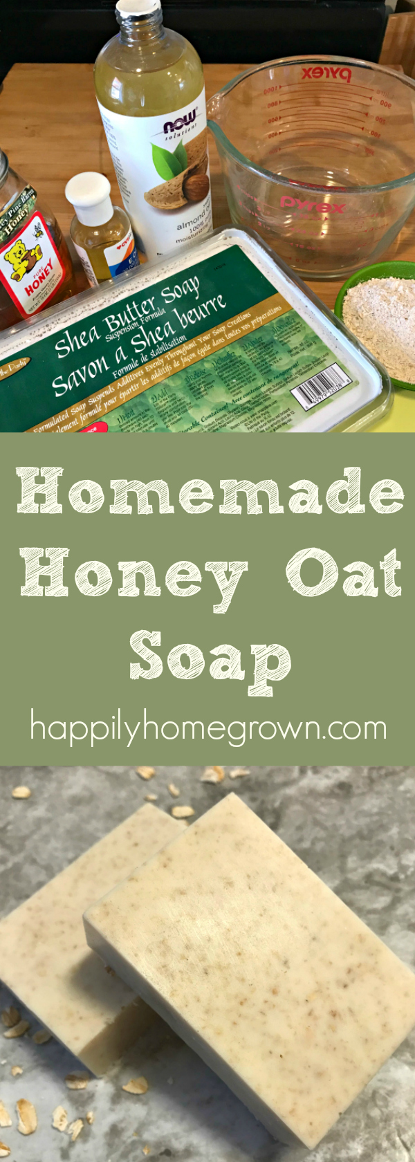 Homemade honey oat soap is the perfect homemade Christmas gift! You can make a batch in as little as 10 minutes. #HandmadeChristmas