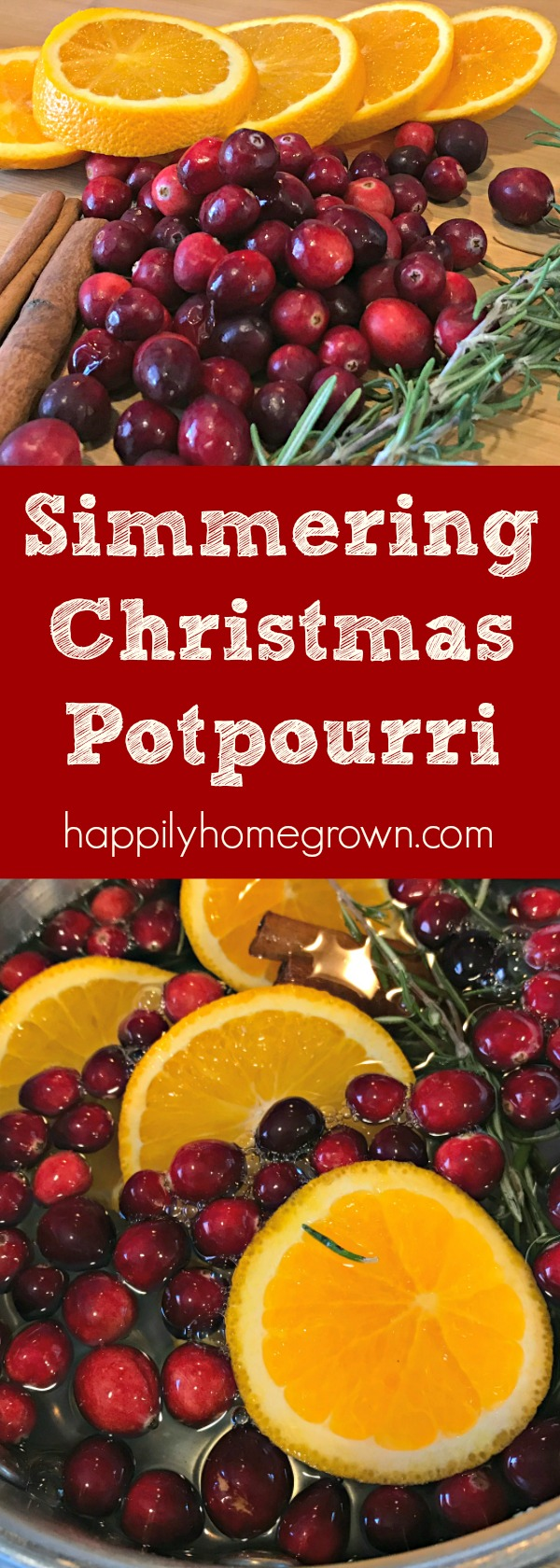 A quick DIY simmering Christmas potpourri that will make your entire home smell wonderful and ready for the holidays without synthetic fragrances. #HandmadeChristmas